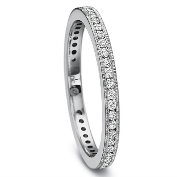 Precision Set Wedding Ring | 18K White Gold Channel Set Eternity Wedding Band | Style No. 001-711-00732