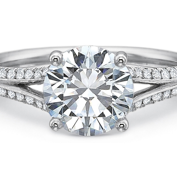 Precision Set Engagement Ring | New Aire Collection 18K White Gold Split Shank Ring | Style No. 001-711-00781