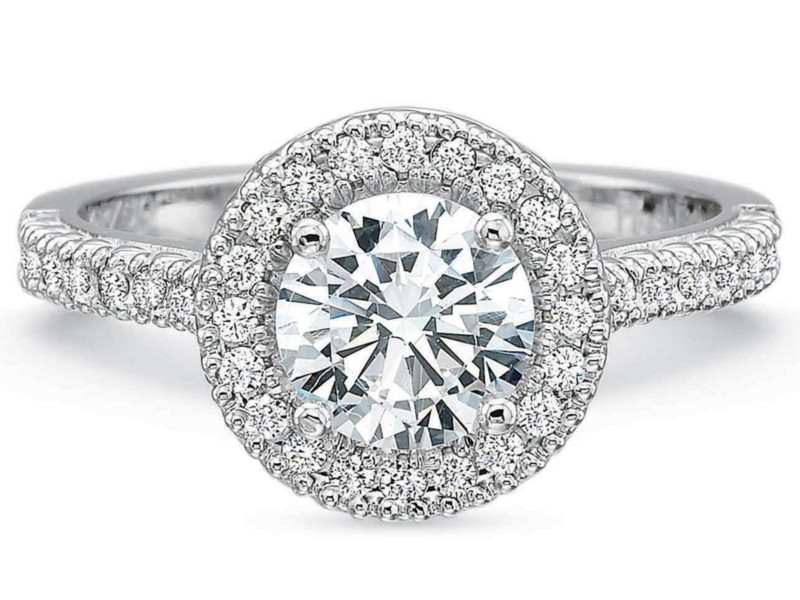 Precision Set Engagement Ring | 18K White Gold Pavé Diamond Halo Ring | Style No. 001-711-00826