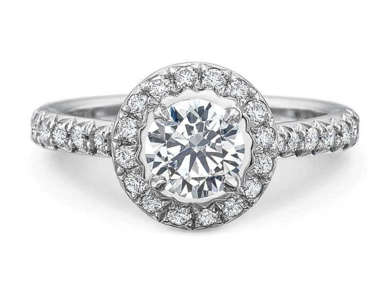 Precision Set Engagement Ring | 18K White Gold Halo Setting with Graduated Diamond Band | Style No. 001-711-00849
