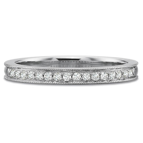 Precision Set Wedding Ring | 18K White Gold Padis Jewelry - Milgrain Rings Diamond Ring | Style No. 001-711-01005