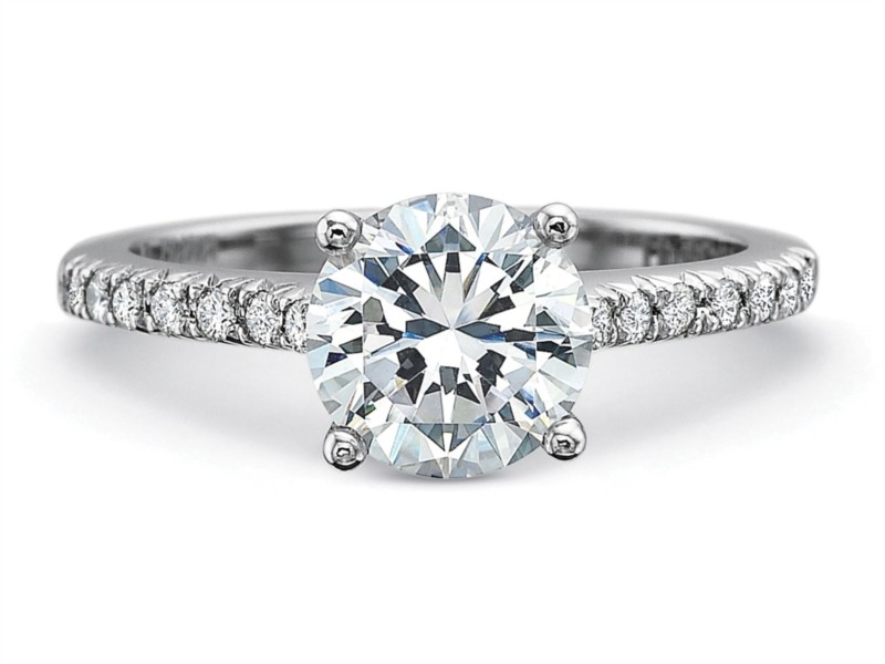 Precision Set Engagement Ring | 18K White Gold Split Shared Prong Ring | Style No. 001-711-01006
