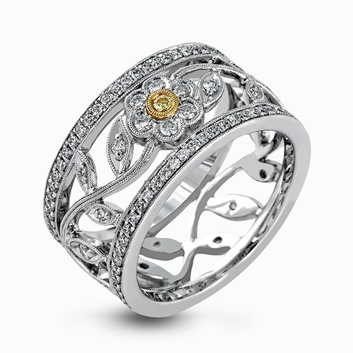 Simon G. | 18K White Gold Yellow and White Diamond Ring with Floral Details | Style No. 001-718-00102