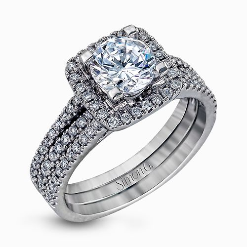 Simon G | 18K White Gold Pavé Diamond Square Halo Ring Setting | Style No. 001-718-00319