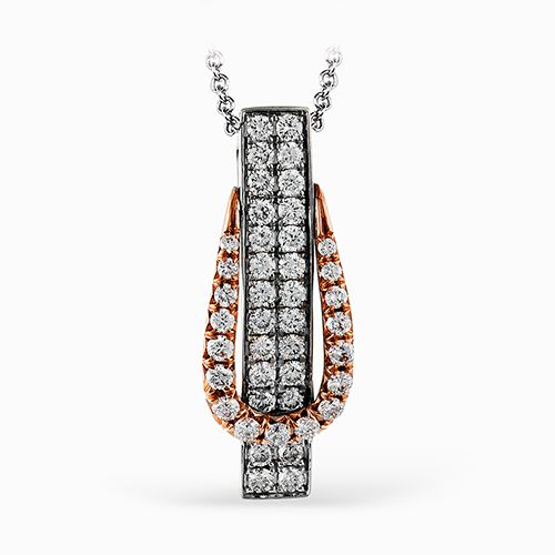 Simon G | 18K White & Rose Gold Pavéé Diamond Pendant | Style No. 001-718-00324