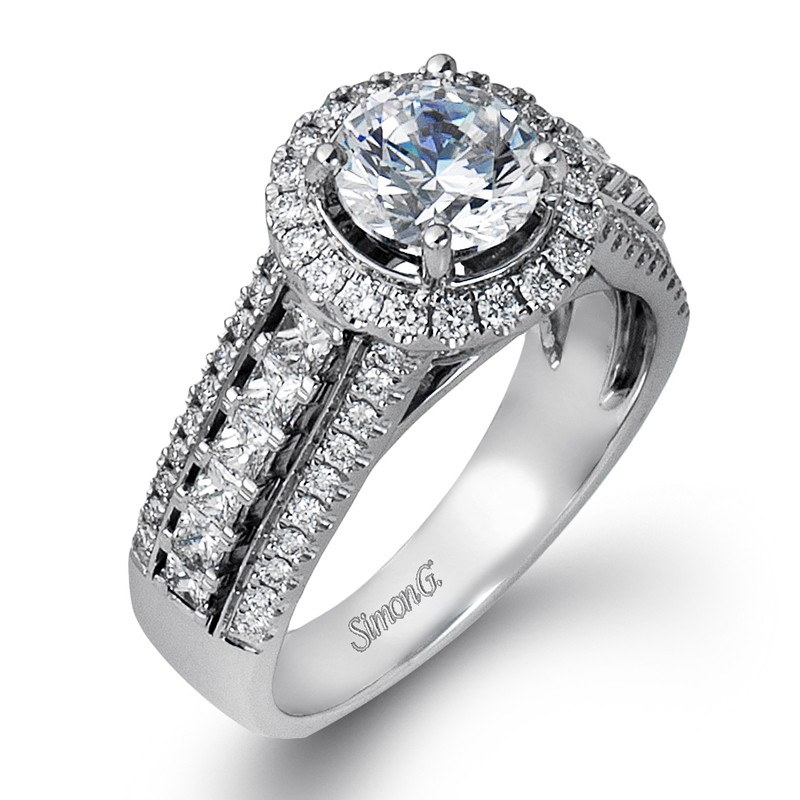 Simon G | 18K White Gold Cushion Halo Diamond Engagement Ring | Style No. 001-718-00359