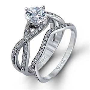 Simon G | 18K White Gold Pavé Diamond Bridal Set | Style No. 001-718-00362