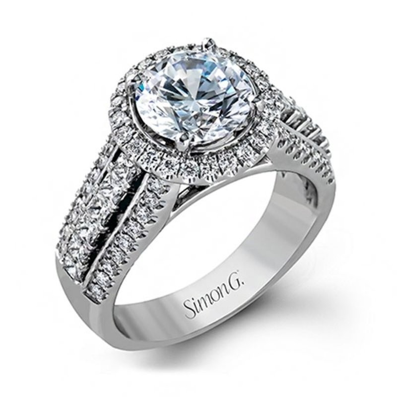 Simon G | 18K White Gold Pavé Diamond Halo Engagement Ring Setting | Style No. 001-718-00375