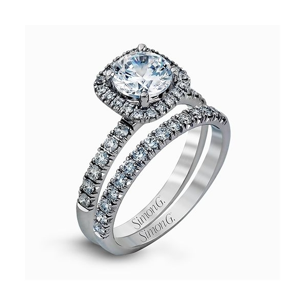 Simon G | Platinum Cushion Halo Ring Setting | Style No. 001-718-00443