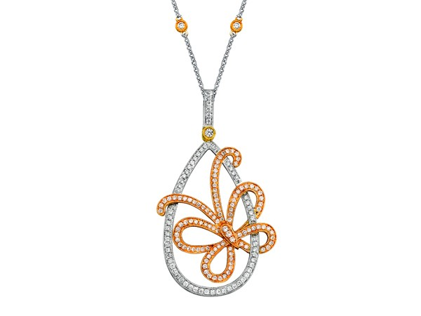 Simon G | 18K White, Rose & Yellow Gold Pavéé Butterfly Pendant | Style No. 001-718-00427