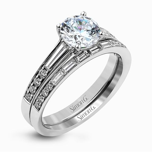 Simon G | 18K White Gold Bridal Set with Round Diamond Accents | Style No. 001-718-00438