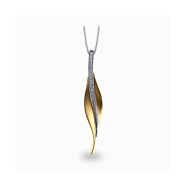 Simon G Garden Collection | 18K Yellow & White Gold Leaf Pendant | Style No. 001-718-00454