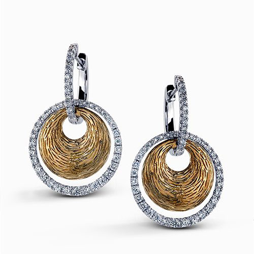 Simon G Fabled Collection | 18K Yellow & White Gold Pavéé Diamond Earrings | Style No. 001-718-00461