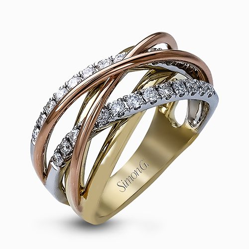 Simon G Fabled Collection | Tri Color 18K Gold Diamond Ring | Style No. 001-718-00590