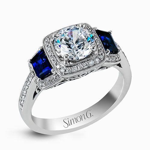 Simon G Passion Collection | 18K White Gold Pavé Cushion Halo Diamond Ring | Style No. 001-718-00469