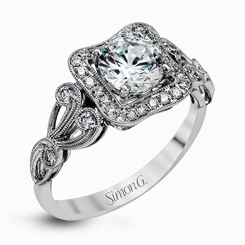Simon G Passion Collection | 18K White Gold Sculptured Halo Diamond Setting | Style No. 001-718-00470