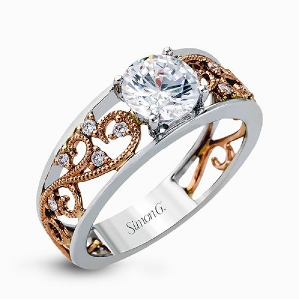Simon G Duchess Collection | 18K White & Rose Gold Filigree Ring Setting | Style No. 001-718-00515