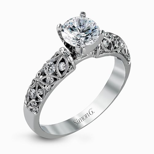 Simon G Duchess Collection | 18K White Gold Pierced Filigree Ring Setting | Style No. 001-718-00475