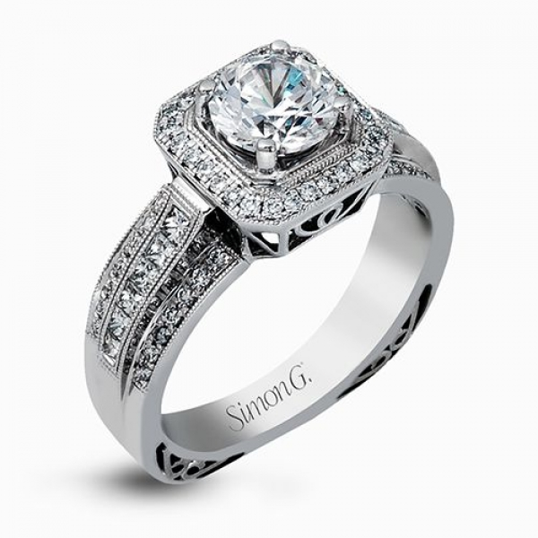 Simon G Passion Collection | 18K White Gold Pavé Cut Corner Halo Ring Setting | Style No. 001-718-00514