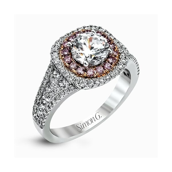 Simon G Passion Collection | 18K White & Rose Gold Halo Diamond Ring | Style No. 001-718-00518