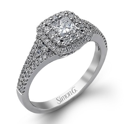 Simon G Passion Collection | 18K White Gold Double Halo Diamond Setting | Style No. 001-718-00483