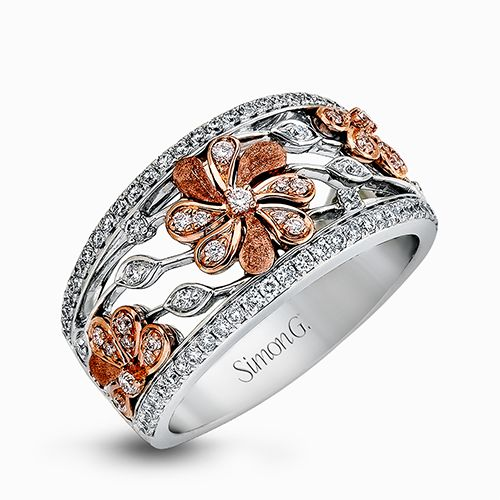 Simon G Garden Collection | 18K White and Rose Gold Floral Diamond Ring | Style No. 001-718-00485