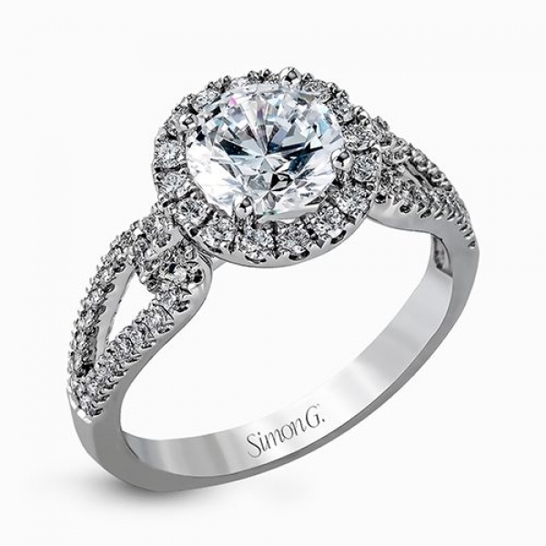 Simon G Passion Collection | 18K White Gold Diamond Halo Split Shank Setting | Style No. 001-718-00524