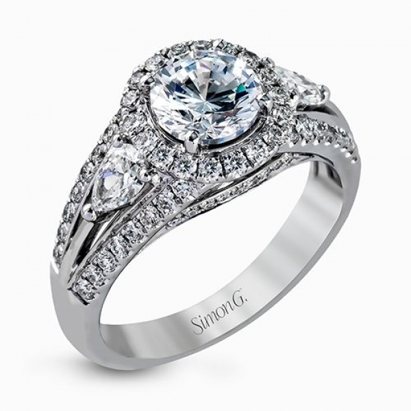 Simon G Passion Collection | 18K White Gold Split Shank Halo Diamond Ring | Style No. 001-718-00533