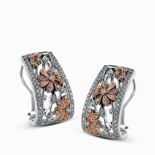 Simon G Garden Collection | 18K White & Rose Gold Floral Diamond Earrings with French Clips | Style No. 001-718-00499
