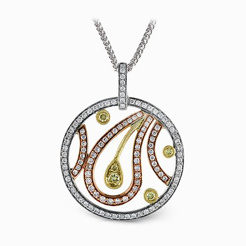 Simon G Paisley Collection | 18K White, Rose & Yellow Gold Diamond Circle Pendant | Style No. 001-718-00506