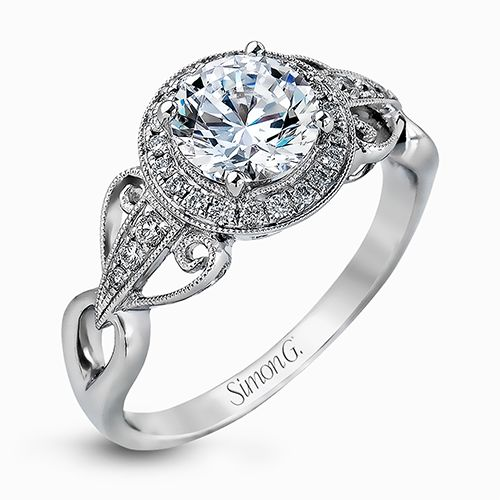Simon G Passion Collection | 18K White Gold Halo Diamond Ring | Style No. 001-718-00510