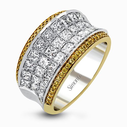 Simon G | 18K White and Yellow Gold Invisible Set Princess Diamond Ring | Style No. 001-718-00517