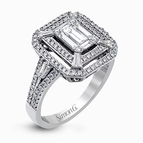 Simon G | 18K White Gold Two Row Elongated Engagement Ring | Style No. 001-718-00539