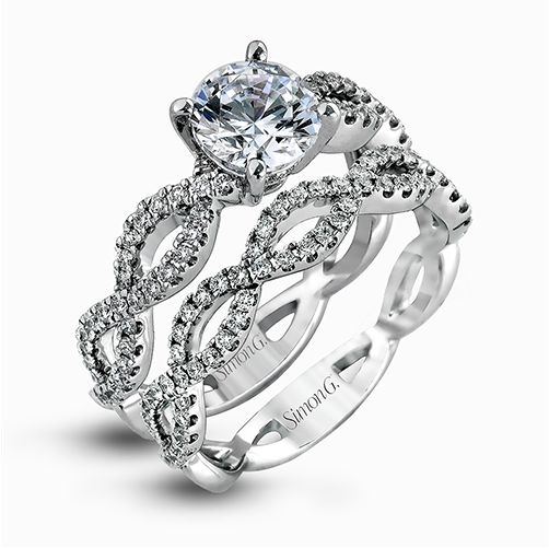 Simon G Fabled Collection | 18K White Gold Twisted Pavé Diamond Ring | Style No. 001-718-00560
