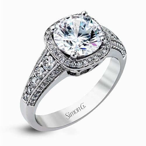 Simon G Passion Collection | 18K White Gold Cushion Halo Diamond Ring Setting | Style No. 001-718-00567