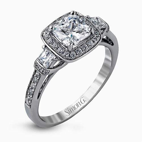 Simon G Delicate Collection | 18K White Gold Cushion Halo Diamond Ring | Style No. 001-718-00618