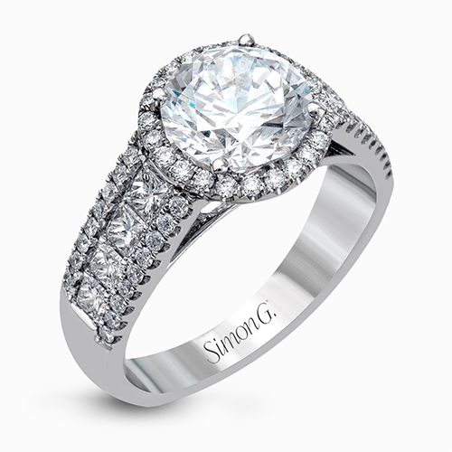 Simon G Passion Collection | 18K White Gold Halo Diamond Engagement Ring | Style No. 001-718-00620