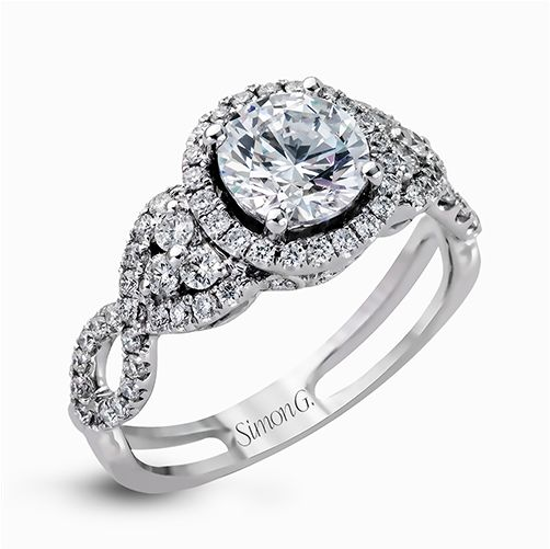 Simon G Passion Collection | 18K White Gold Pavé Halo Diamond Ring | Style No. 001-718-00623