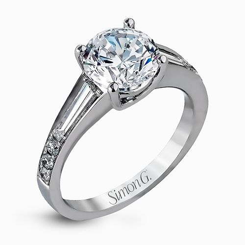 Simon G Caviar Collection | 18K White Gold Diamond Setting with Baguette Accents | Style No. 001-718-00624