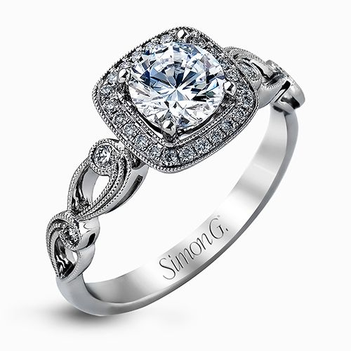Simon G Passion Collection | 18K White Gold Pavé Cushion Halo Ring | Style No. 001-718-00625