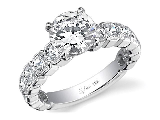 Sylvie Passion Collection | 18K White Gold Diamond Ring Setting with Milgrain | Style No. 001-724-00017