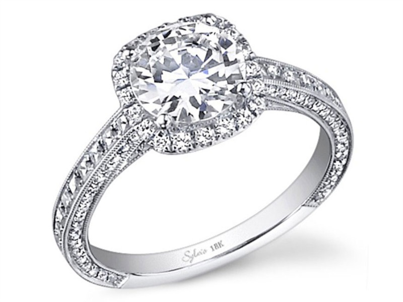 Sylvie Romance Collection | 14K White Gold Pavé Cushion Halo Diamond Engagement Ring | Style No. 001-724-00059