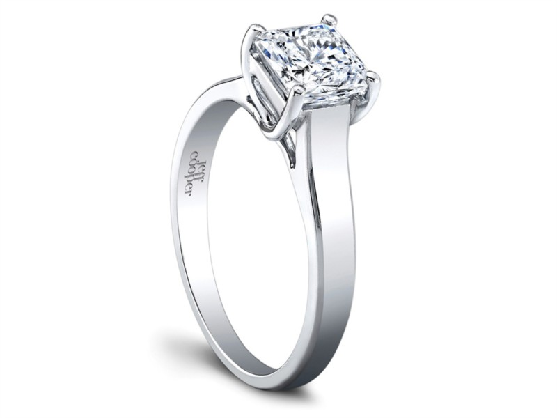 Jeff Cooper | 18K White Gold Solitaire Princess Center Engagement Ring | Style No. 001-730-00996 R2969/W