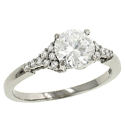 White Gold Engagement Ring with Diamond Clusters | Style No. 001-730-00779 R3300/W