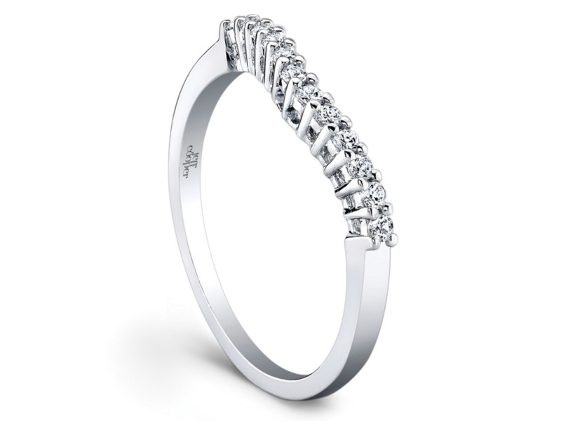 Jeff Cooper | 18K White Gold Contoured Prong Set Woman's Wedding Band | Style No. 001-730-00825