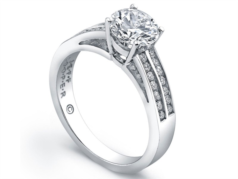 Jeff Cooper | Platinum Double Row Channel Set Engagement Ring | Style No. 001-730-00892 R3114