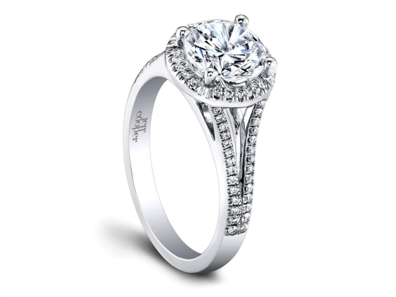 Jeff Cooper | 14K White Gold Pavé Split Shank Halo Engagement Ring Setting | Style No. 001-730-01071 RP1502/R6.5W14