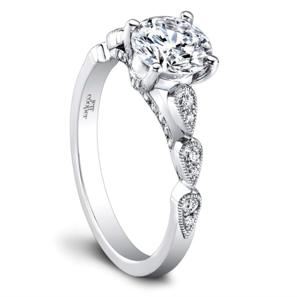 Jeff Cooper | 14K White Gold Detailed Engagement Ring | Style No. 001-730-01191 RP1609/R/6.5C14