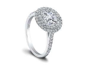 Jeff Cooper | 14K White Gold Pavé Double Halo Engagement Ring | Style No. 001-730-01186 RP1626/R6.5C14