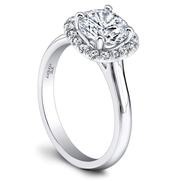 Jeff Cooper | Platinum Cushion Halo Diamond Engagement Ring | Style No. 001-730-01235 RP1607/RD6.5